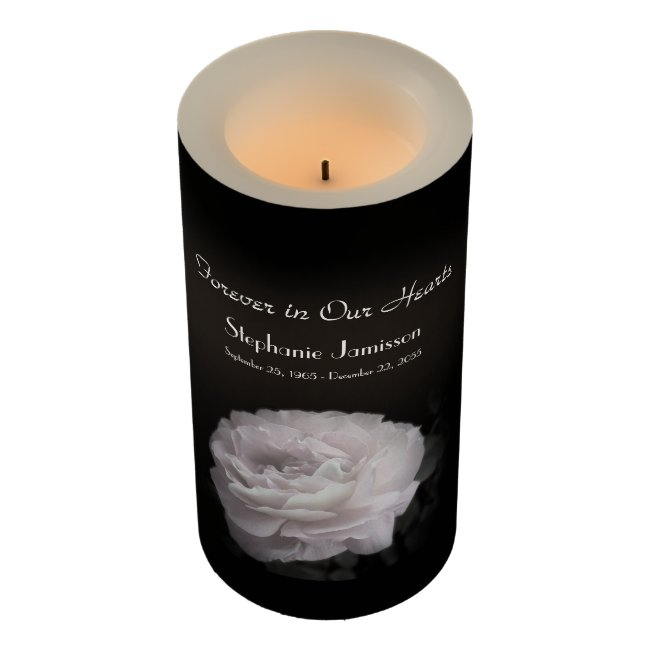 Custom Flameless Memorial Candle Pale Pink Rose