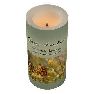 Custom Flameless Memorial Candle Yellow Butterfly