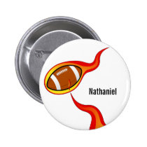 custom flaming  football pinback button
