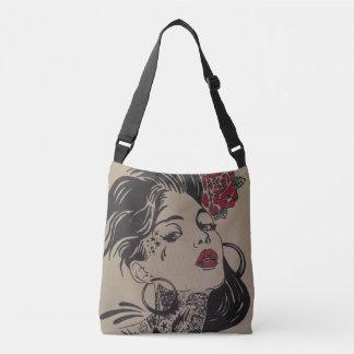custom flash tattoo girl crossbody bag