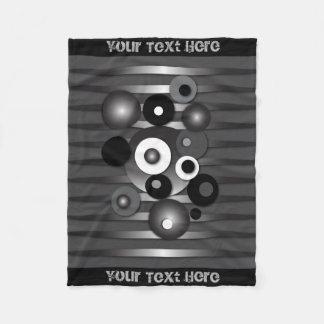 "Custom Fleece Blanket with ""Circles Brushed Steel"""