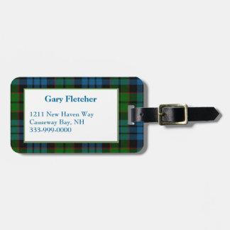 Custom Fletcher Tartan Plaid Luggage Tag