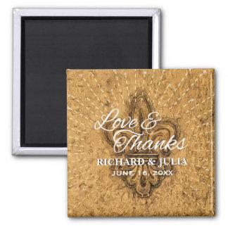 Custom Fleur De Lis Gold Wedding Favor Thank You Magnet