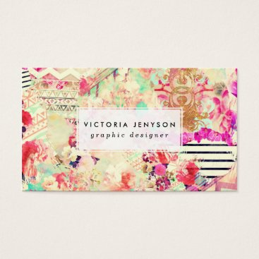 girly_trend Custom floral aztec pink patchwork personalized business card