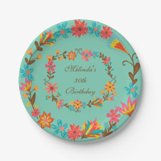 Custom Floral Birthday Paper Plate