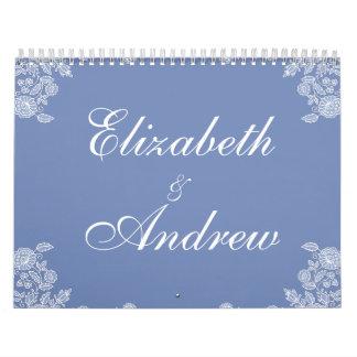 Custom Floral Flourish Wedding Corner Lace Motif Calendar