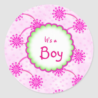 Custom Floral Its a Boy Baby Shower Favor Sticker