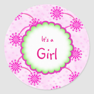 Custom Floral Its a Girl Baby Shower Favor Sticker