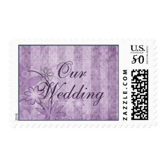 Custom Floral Lavender Wedding Postage Stamps