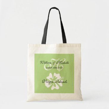 Beach Themed Custom floral logo destination wedding tote bag