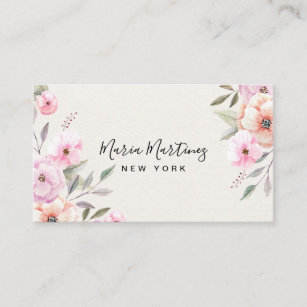 Blooming watercolor flowers Style Fashion Design Personlized Stainless Steel Professional Business Card Holder