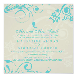 "Custom floral modern wedding invites 5.25"" square invitation card"