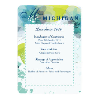 Custom Floral Pageant Luncheon Program Card