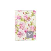 Custom Floral Pattern Old Rose Monogram Passport H Passport Holder