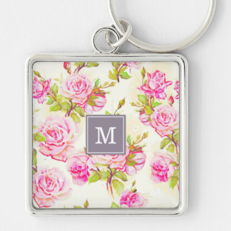 Custom Floral Pattern Old Rose Monogram S Keychain