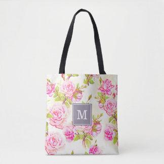 Custom Floral Pattern Old Rose Monogram Tote Bag