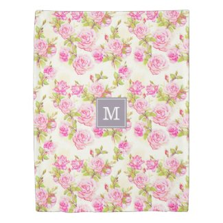 Custom Floral Pattern Old Roses Monogram Duvet C