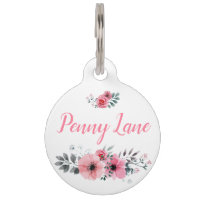 Custom Floral Pet Tag