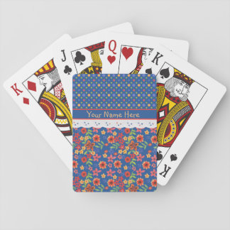 Custom Floral Polkas Faux Lace Playing Cards