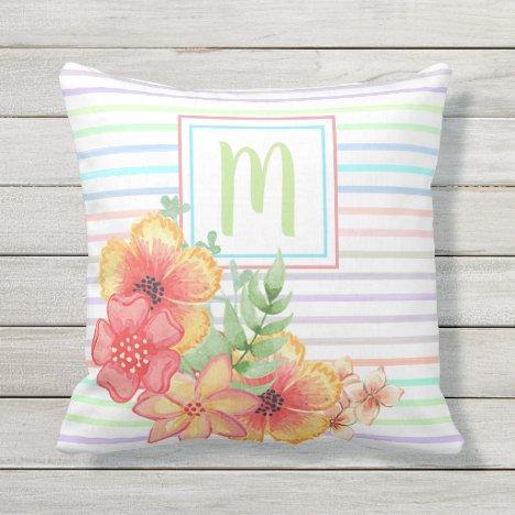 Custom Floral Watercolor On Stripes Art Motif Outdoor Pillow