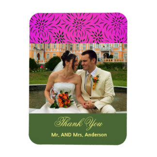 Custom Floral Wedding Favor Thank You Photo Magnet