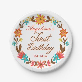 Custom Floral Wreath 1st Birthday Paper Plate 7 Inch Paper Plate