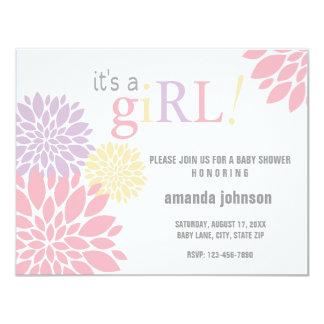 Custom Flower Baby Shower Girl 4.25x5.5 Paper Invitation Card