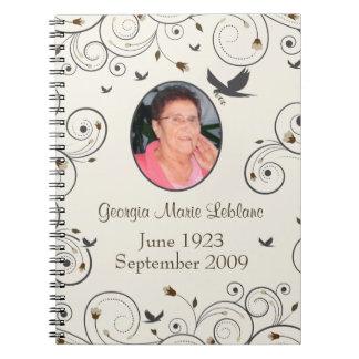 Custom Flowers and Swirls Memorial Guestbook Spiral Notebook