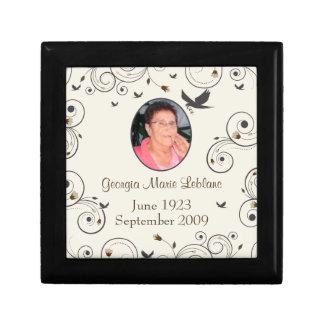 Custom Flowers and Swirls Memorial Keepsakes Gift Box