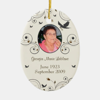 Custom Flowers and Swirls Memorial Keepsakes Poem Ceramic Ornament