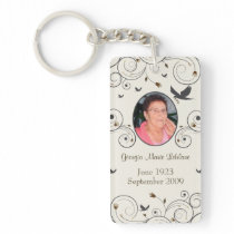 Custom Flowers and Swirls Memorial Keepsakes Poem Keychain