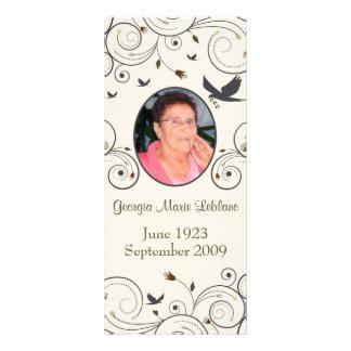 Custom Flowers and Swirls Memorial Keepsakes Poem Rack Card