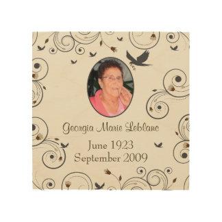 Custom Flowers and Swirls Memorial Keepsakes Wood Print