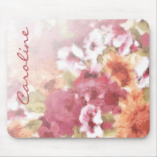 Custom Flowers Pattern Pretty Watercolor Painting Mouse Pad