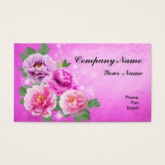 Custom Flowers Pink White Purple Peonies Business Card