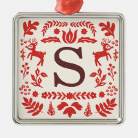 Custom Folk Art Holiday Monogram Ornament