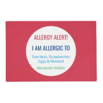 Custom Food Allergy Alert Personalized Kids Red Placemat