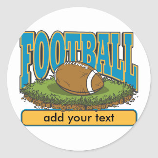 Custom Football Add Text Classic Round Sticker