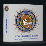 """Custom Football Card Binder<br><div class=""""desc"""">Insane Football Fan Football Cards book with brushed steel background and Insane Football fan logo! Football logo is a crazy Football with It&#39;s All About Football and Insane Football fan text! Ryan&#39;s Football Cards text, Team - Series - Card Collections text on front cover and spine can be edited! Add...</div>"""