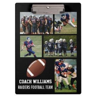 Custom Football Coach 5 Photo Collage Team Name Clipboard
