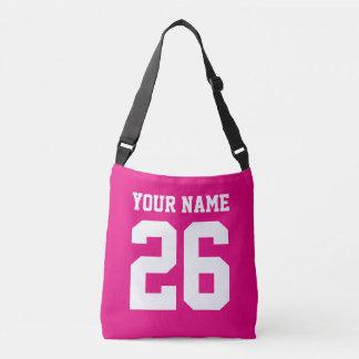 Custom football jersey number cross body bag tote bag