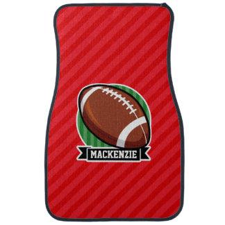 Custom Football on Red Diagonal Stripes Car Mat