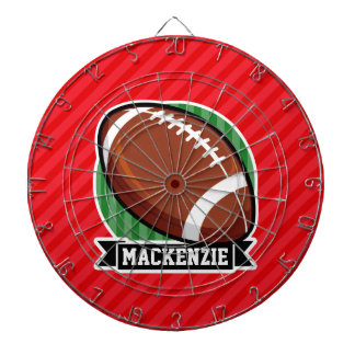 Custom Football on Red Diagonal Stripes Dartboard
