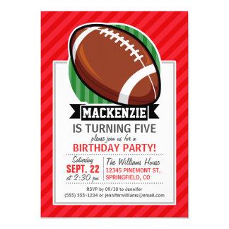 Custom Football on Red Diagonal Stripes 5x7 Paper Invitation Card