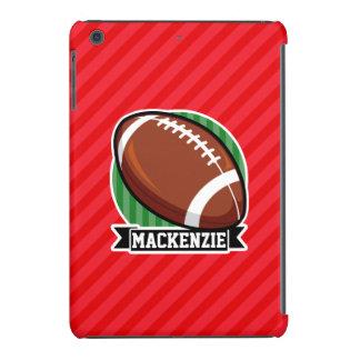 Custom Football on Red Diagonal Stripes iPad Mini Retina Case