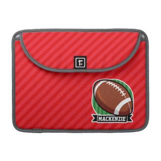 Custom Football on Red Diagonal Stripes Sleeve For MacBook Pro