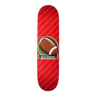 Custom Football on Red Diagonal Stripes Skate Deck