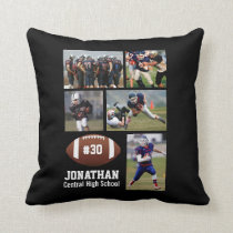 Custom Football Photo Collage Player Name # Team Throw Pillow