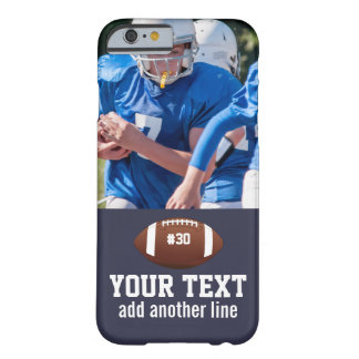 Custom Football Photo Name and Number Barely There iPhone 6 Case