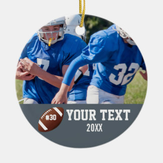 Custom Football Photo Name and Number Ceramic Ornament